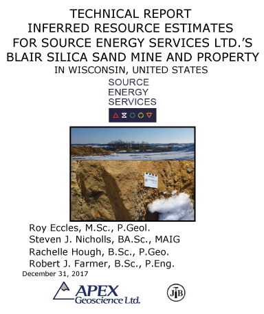 Resource Blair Silisa Sand Mine, Source Energy